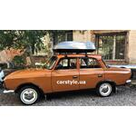 [Багажник Amos Uni Stl и бокс Terra Drive-420 (серый) на Москвич ИЖ] - [FU MOSK5-1]