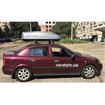 [Багажник Thule-753 WingBar Evo і бокс Terra Drive-440 (сірий) на Opel Astra] - [FU OP5-5]