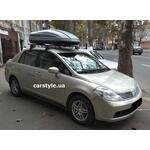 [Багажник Terra Clip Aero+ и бокс Terra Drive-440 (серый) на Nissan Tiida] - [FU NI5-25]