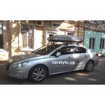 [Багажник Thule-754 WingBar Evo и бокс Terra Drive-480 (серый глянец) на Peugeot 508] - [FU PE6-10]