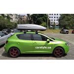 [Багажник Thule-754 WingBar и бокс Terra Drive-480 (серый) на Seat Ibiza] - [FU SE6-8]