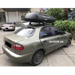 [Багажник Amos Dromader Wind Plus і бокс Terra Drive-420 (чорний) на Daewoo Lanos] - [FU DW4-2]