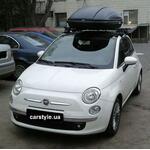 [Багажник Thule-754 SquareBar і адаптер Thule 777 і бокс Terra Drive-440 (чорний) на Fiat 500] - [FU FI1-2]